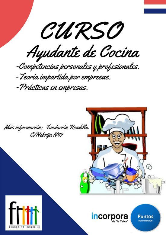 Curso pfi rondilla ayudante de cocina asociaci n for Cursos de ayudante de cocina